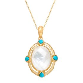 Pendant with Crystal over Mother-of-Pearl & Turquoise
