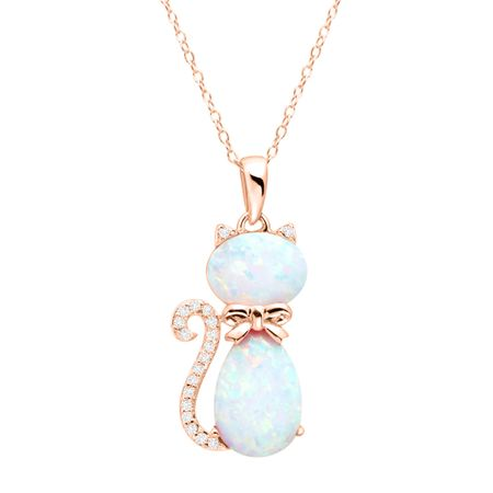 1 12 ct created opal white sapphire cat pendant in 18k rose 1 12 ct opal white sapphire cat pendant mozeypictures Choice Image