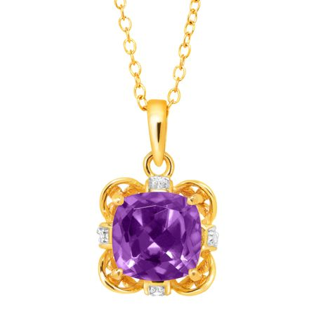 1 1/2 ct Amethyst Pendant with Diamonds