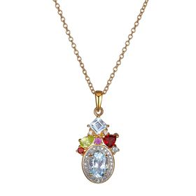 2 ct Multi Semi-Precious Stone Pendant with Diamonds