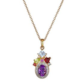 1 3/4 ct Multi Semi-Precious Stone Pendant with Diamonds
