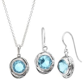 Hooked On Blue Pendant & Earrings Set