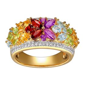 2 ct Multi Semi-Precious Stone Ring with Diamonds