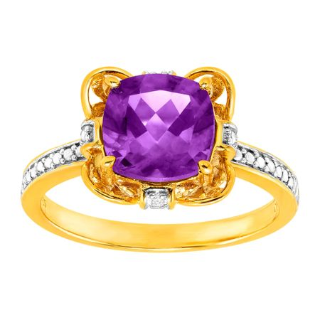 1 1/2 ct Amethyst Ring with Diamonds