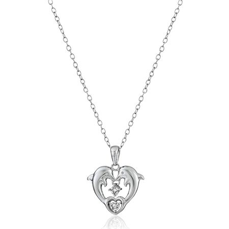 Dolphin Heart With Diamonds Pendant