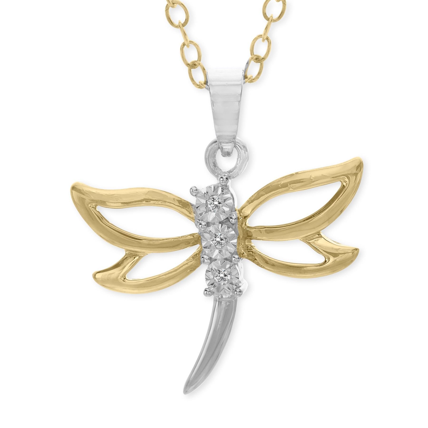 dragonfly gold watches free fremada yellow overstock pendant inches necklace italian today product jewelry shipping