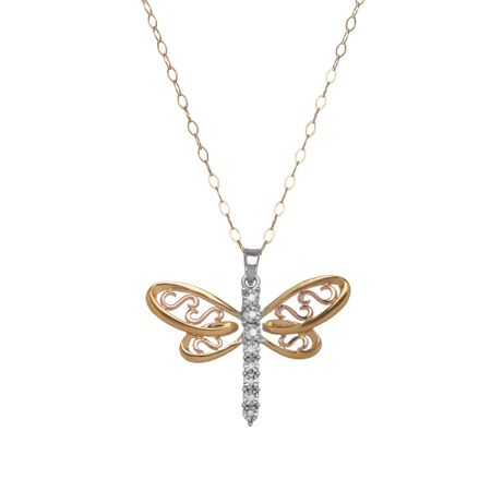 Filigree Dragonfly Pendant with Diamonds