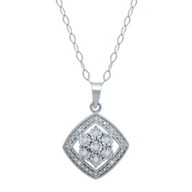 Drop Tile Flower Pendant with Diamonds
