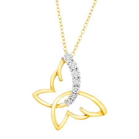 Sideways Butterfly Pendant with Diamonds