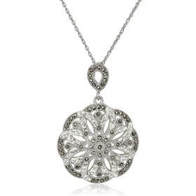 Flower Pendant with Marcasite & Swarovski Crystals