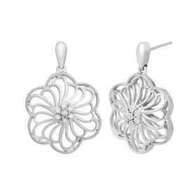 Flower Drop Earrings with Diamonds