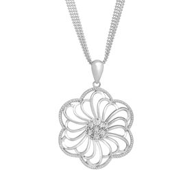 1/8 ct Diamond Open Flower Pendant