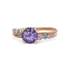 Round Iolite 14K Rose Gold Ring with Pink Tourmaline and London Blue Topaz