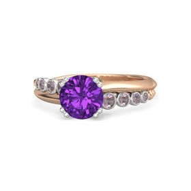 Round Amethyst 14K Rose Gold Ring with Rhodolite Garnet