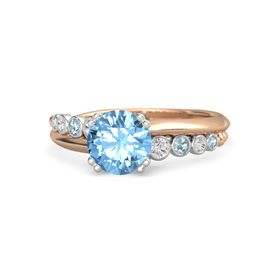Round Blue Topaz 14K Rose Gold Ring with White Sapphire and Aquamarine
