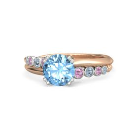 Round Blue Topaz 14K Rose Gold Ring with Pink Tourmaline and Blue Topaz