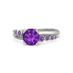 Round Amethyst 14K White Gold Ring with Amethyst