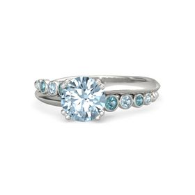 Round Aquamarine 14K White Gold Ring with London Blue Topaz & Aquamarine