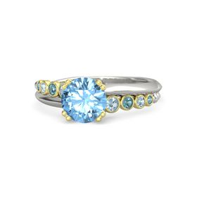 Round Blue Topaz 14K White Gold Ring with Aquamarine and London Blue Topaz