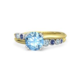 Round Blue Topaz 14K Yellow Gold Ring with Aquamarine and Blue Sapphire