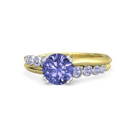 Round Tanzanite 14K Yellow Gold Ring with Tanzanite