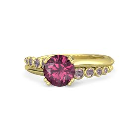 Round Rhodolite Garnet 14K Yellow Gold Ring with Rhodolite Garnet