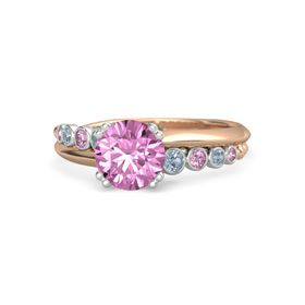 Round Pink Sapphire 18K Rose Gold Ring with Blue Topaz and Pink Sapphire