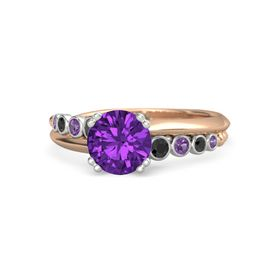 Round Amethyst 18K Rose Gold Ring with Black Diamond and Amethyst