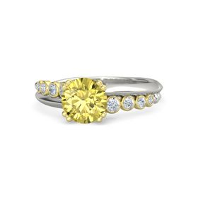 Round Yellow Sapphire Palladium Ring with Diamond