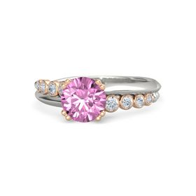 Round Pink Sapphire Platinum Ring with Diamond