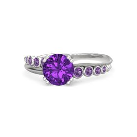 Round Amethyst Sterling Silver Ring with Amethyst