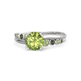 Round Peridot Sterling Silver Ring with Peridot & Green Tourmaline