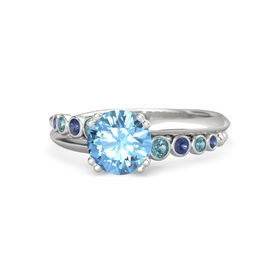 Round Blue Topaz Sterling Silver Ring with London Blue Topaz and Blue Sapphire