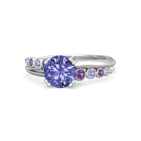 Round Tanzanite Sterling Silver Ring with Amethyst and Tanzanite