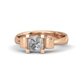 Princess Rock Crystal 14K Rose Gold Ring with Rock Crystal
