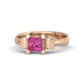 Princess Pink Sapphire 14K Rose Gold Ring with Diamond