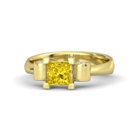 Princess Yellow Sapphire 14K Yellow Gold Ring with White Sapphire