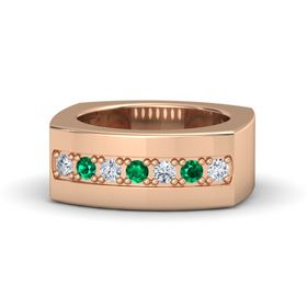 Men's 14K Rose Gold Ring with Diamond & Emerald