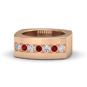 Men's 14K Rose Gold Ring with Diamond & Ruby