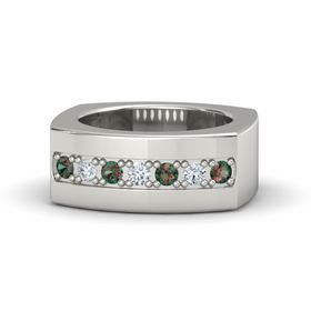 14K White Gold Ring with Alexandrite and Diamond