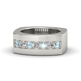 Platinum Ring with Aquamarine and Rock Crystal