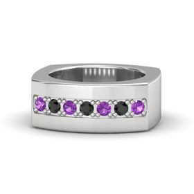Men's Sterling Silver Ring with Amethyst & Black Diamond