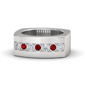 Sterling Silver Ring with Diamond and Ruby