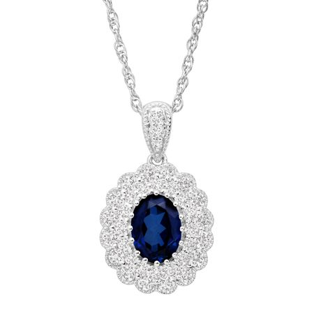 2 3/8 ct Blue & White Sapphire Scalloped Frame Pendant