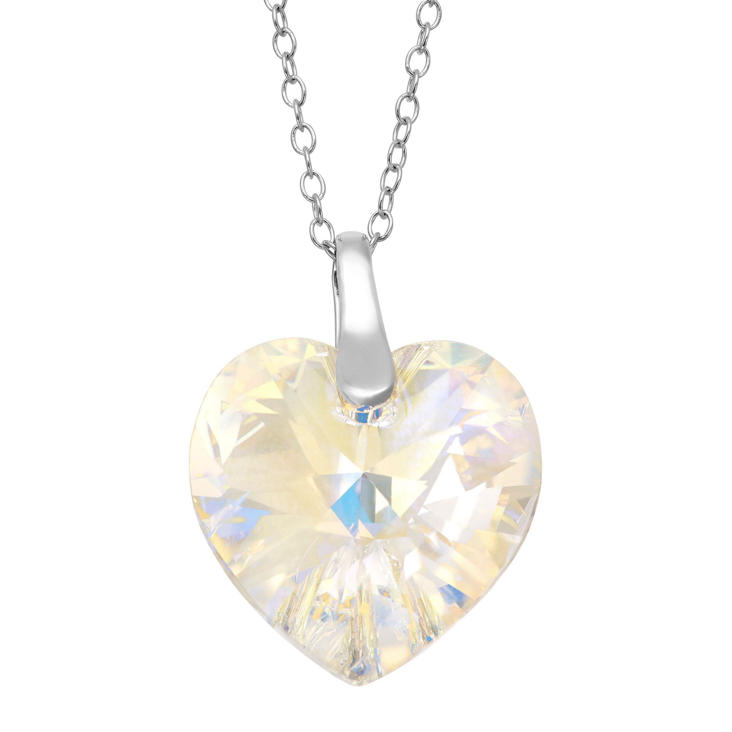 11ad4789d Details about Crystaluxe Heart Pendant with Aurora Borealis Swarovski  Crystal Sterling Silver