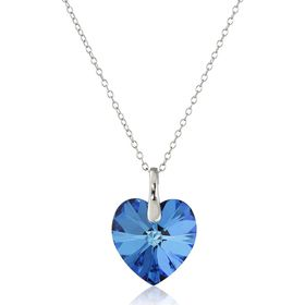 Heart Pendant with Bermuda Blue Swarovski Crystal