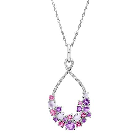 Natural Multi-Stone & 1/10 ct Diamond Pendant