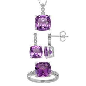 12 ct Amethyst & 1/5 ct Diamond Ensemble Set