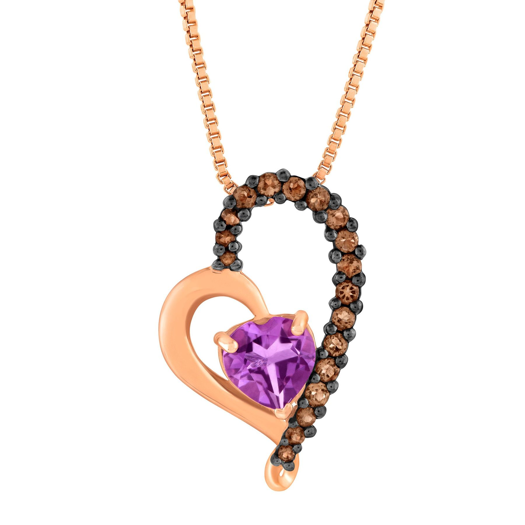 Finecraft 7/8 ct Amethyst & Smokey Quartz Heart Pendant