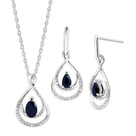 1 1/10 ct Sapphire Pendant & Earrings Set with Diamonds